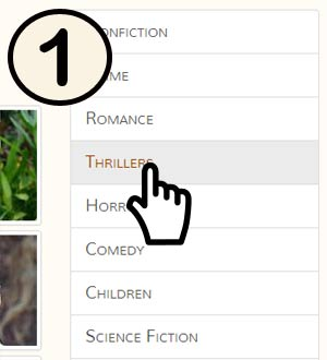 Cursor hovering over the Thriller genre link